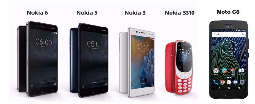 Nokia Aand Moto G5 Smartphones
