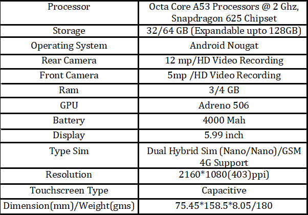 Redmi Note 5 Specs